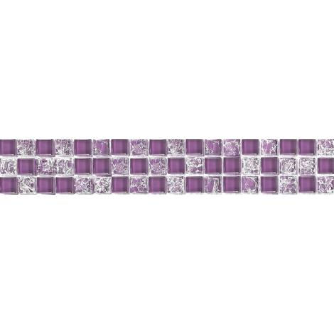 Purple Crackle & Plain Mix Bathroom Kitchen Glass Mosaic Tile MT0070