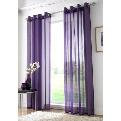 """Purple Eyelet Ring Top Voile Curtain Panel 59x54"""""""