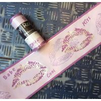 Purple Lips Kiss Wallpaper Border Debona Silver Lilac Metallic Finish