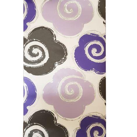 Purple Silver Floral Wallpaper Metallic Retro Swirls Blossoms White Muriva Izy