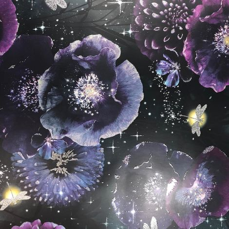 Purple Teal Floral Stars Wallpaper Butterfly Flowers Glitter Arthouse Nocturnal