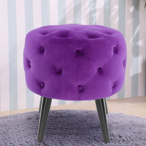 Purple Velvet Button Footstool Ottoman Footrest Makeup Dressing Table Stool Chair Seat