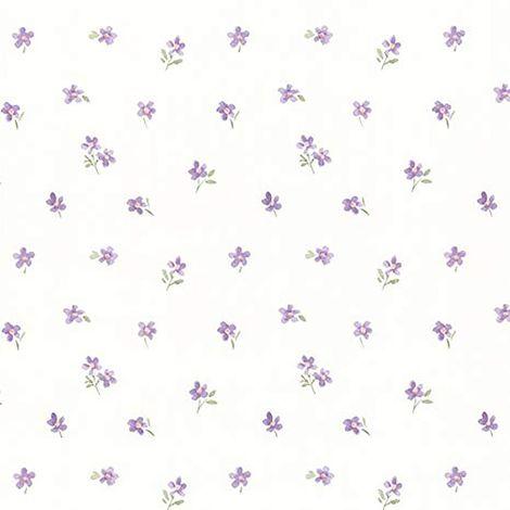 Purple Wallpaper Floral Roses Flower Vintage Retro Dollhouse Vinyl Cream Fine Decor