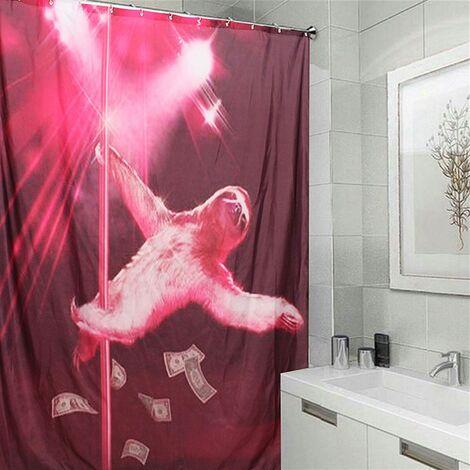 Purple Waterproof Shower Curtain Bathtub Bathroom + 12 Hooks 180X180cm Animal