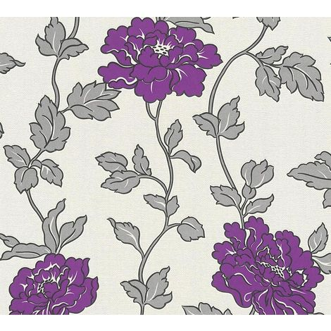 Purple White Black Silver Red Floral Trail Wallpaper Glitter Vinyl Textured