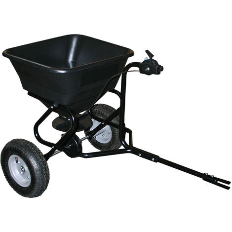 Push Broadcast Spreader 30kg with pneumatic tyres coupling for ride-on mower