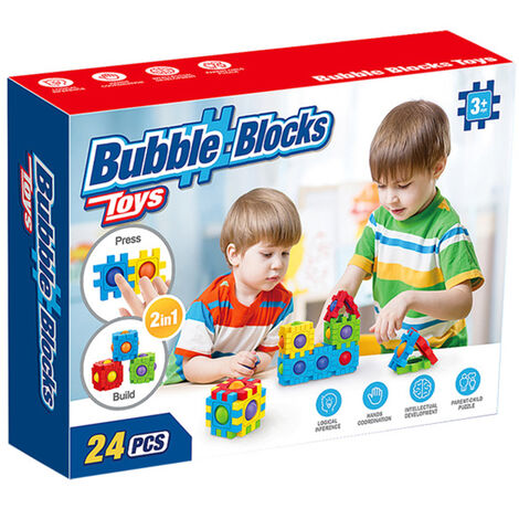 "main image of ""Push Bubble Creative Children\'s Three-dimensional Puzzle Game Relieve Stress Interlocking Blocks 24 Pcs,model: 24-pack"""