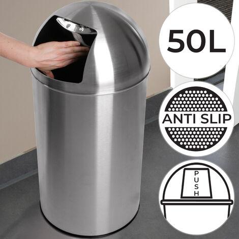 Push Mülleimer Abfalleimer Edelstahl 50 L Retro