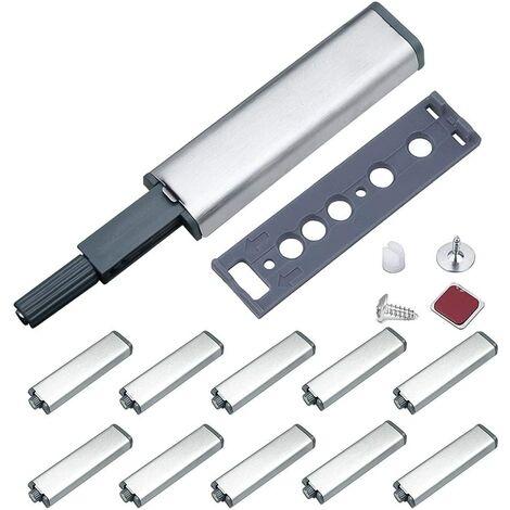 Push to Open Aimant Porte Placard Jiayi Métal Loquet Magnetique Push Open Poussoir Placard Fermeture Magnétiques pour Armoire Systeme Push to Open Amortisseur Tiroir (10 Pièces)