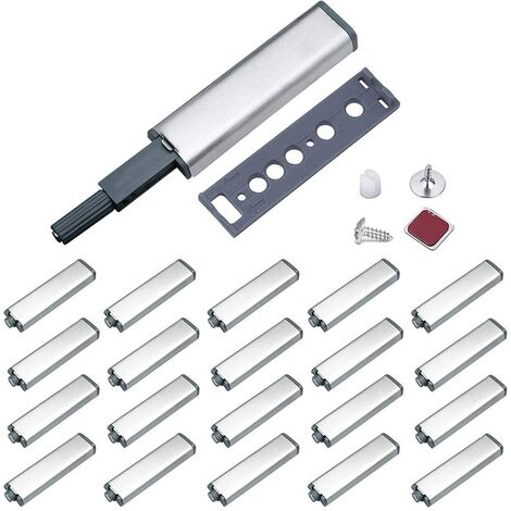 Push to Open Aimant Porte Placard Jiayi Métal Loquet Magnetique Push Open Poussoir Placard Fermeture Magnétiques pour Armoire Systeme Push to Open Amortisseur Tiroir (20 Pièces)