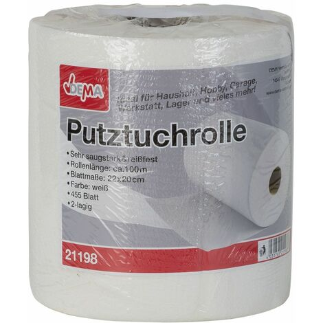 Putztuchrolle XXL 100 m (455 Blatt) weis Putztuch Putztuchrolle Putzrolle Putzpapier Papiertuch