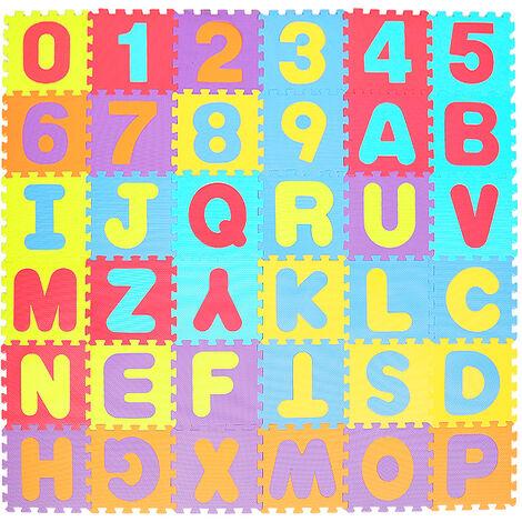 Puzzle tapis mousse 86 pièces alphabet et chiffres 32x32 cm Tapis de jeu enfants 36 dalles