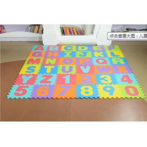 """main image of """"Puzzle tapis mousse 86 pièces Alphabet et chiffres 32x32 cm Tapis de jeu enfants"""""""