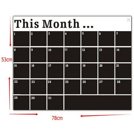 PVC Art Calendar Removable Wall Sticker Offset Black