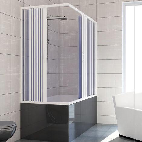 PVC Badewannefaltwand mit zentraler Öffnung Mod. Nadia