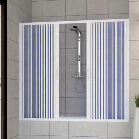 PVC Badewannefaltwand mit zentraler Öffnung Mod. Nina