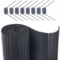 PVC Fence, 80/90/100/180 x 300/400/500cm, Grey, Garden Balcony Blind, Outdoor Blinds Screen Fence with Reinforcing Ribs, PVC