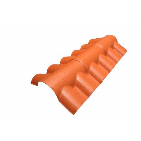PVC-Firsthaube zweiseitig, für Dachplatten mit romanischem Ziegelprofil L 108 cm / B 40 cm / H 22 cm