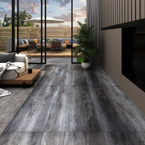 PVC Flooring Planks 4.46 m² 3 mm Shiny Grey