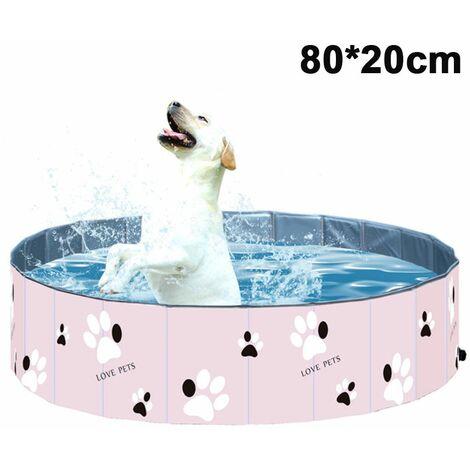 PVC Pet Swimming Pool Portable Foldable Pool Tub Bathtub Wash Tub Water Pond Pool Pet Pool & Kiddie Pools for Kids in The Garden, pink