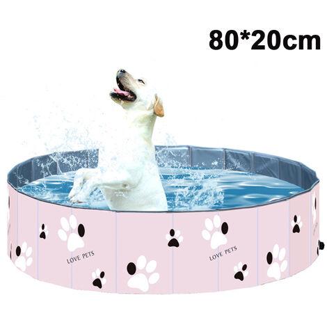 PVC Pet Swimming Pool Portable Pliable Piscine Baignoire Baignoire Lavage Bassin D'eau Piscine Pet Pool Kiddie Piscines pour Enfants dans Le Jardin --- Rose