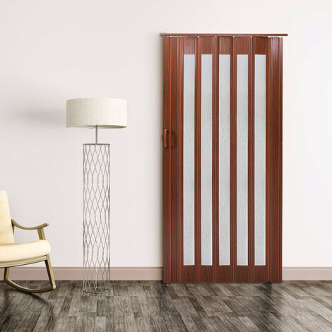 PVC Plastic Folding Gloss Washable Door Sliding Panel Divider with Magnetic Lock