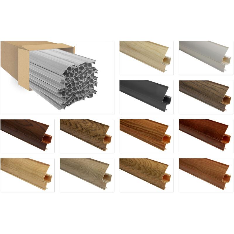 PVC Sockelleisten Sparpakete Fußbodenleisten 23x65mm Modern Kabelkanal:8602 Holzoptik grau, 10 Meter / 5 Leisten