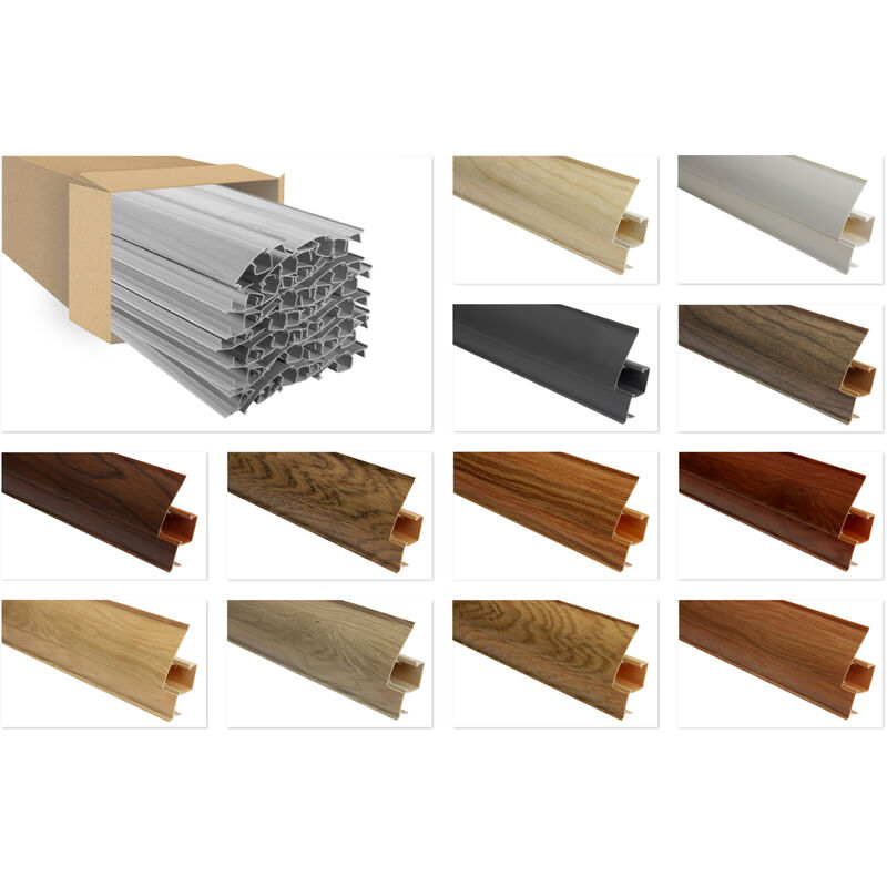 Lemal - PVC Sockelleisten Sparpakete Fußbodenleisten 23x65mm Modern Kabelkanal:8602 Holzoptik grau, 40 Meter / 20 Leisten