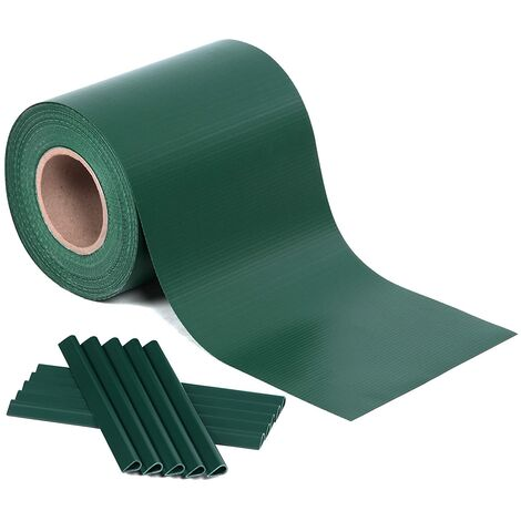 PVC Strips Garden Fence Roll Privacy Screen 19cm x 35m/40m/50m Complimentary 25 x Mounting Clips Dark grey/Green/Light grey
