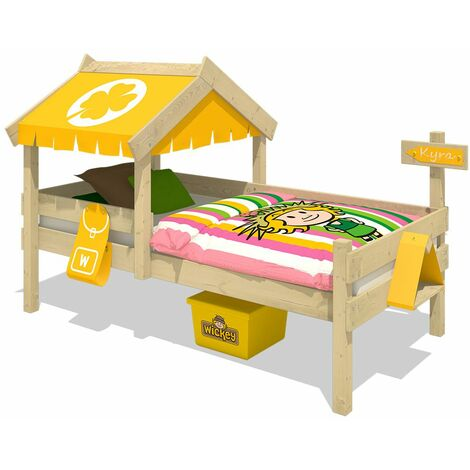 <p>WICKEY Kid&acute;s bed, single bed Crazy Buddy - yellow canvas cover children&acute;s bed 90 x 200 cm</p>
