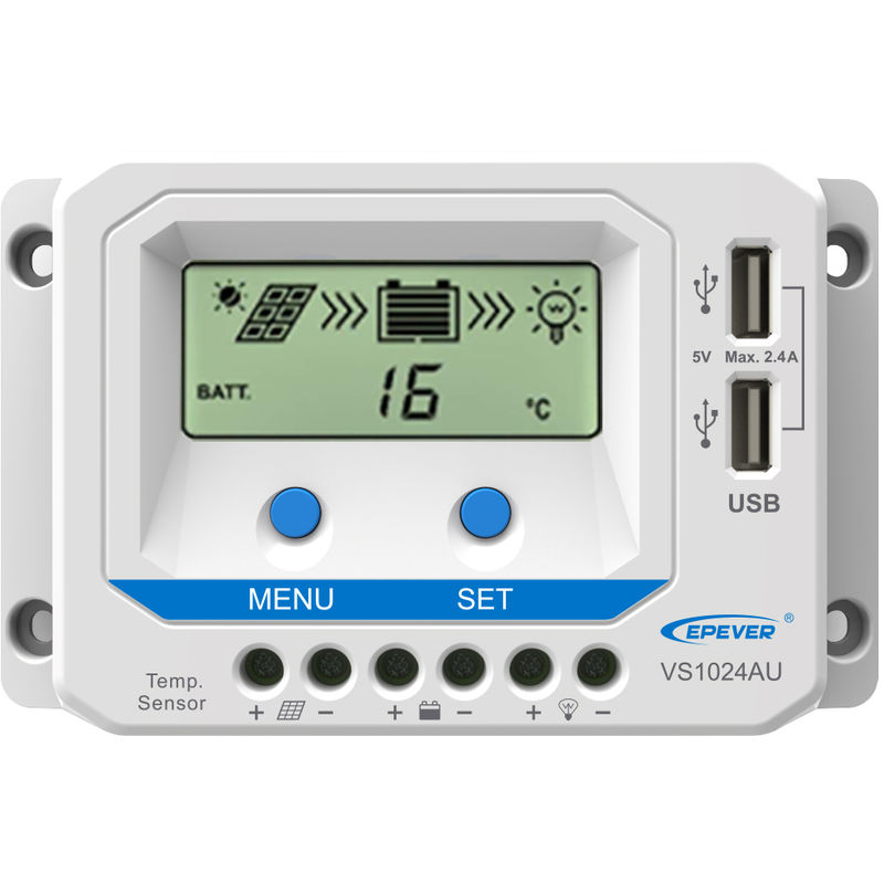 Image of PWM Solar Charge Controller for 12V/24V Solar Panel System LCD Display