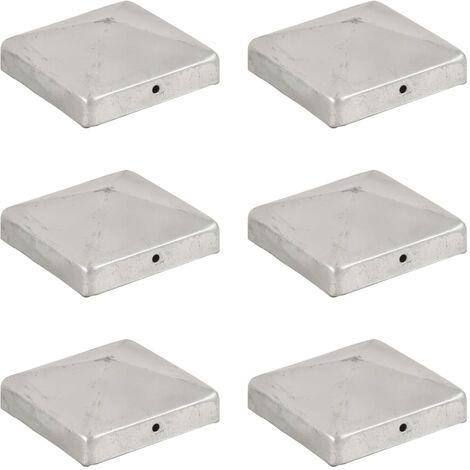 Pyramid Fence Post Caps 6 pcs Galvanised Metal 91x91 mm - Silver