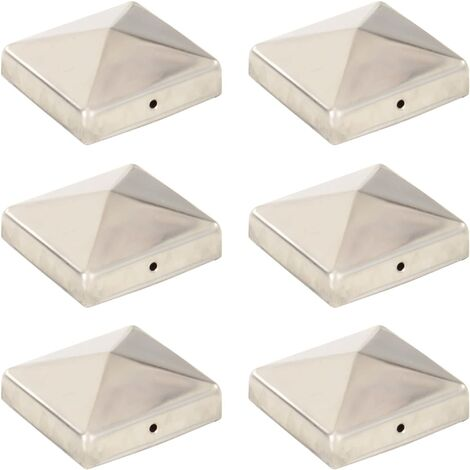 Pyramid Fence Post Caps 6 pcs Stainless Steel 81x81 mm
