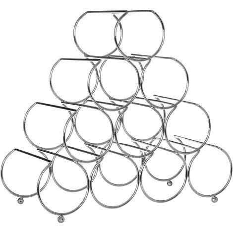 Pyramid Wine Rack, 10 Bottles, Chrome