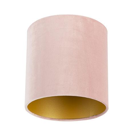 QAZQA Algodón Pantalla terciopelo rosa 20/20/20 interior dorado , Redonda / Cilíndrica Pantalla lámpara colgante,Pantalla lámpara de pie