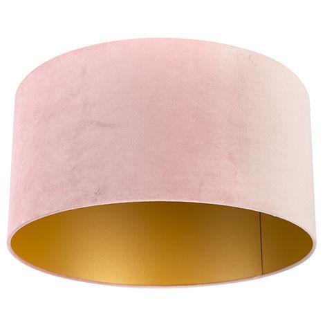 QAZQA Algodón Pantalla terciopelo rosa 50/50/25 interior dorado , Redonda / Cilíndrica Pantalla lámpara colgante,Pantalla lámpara de pie