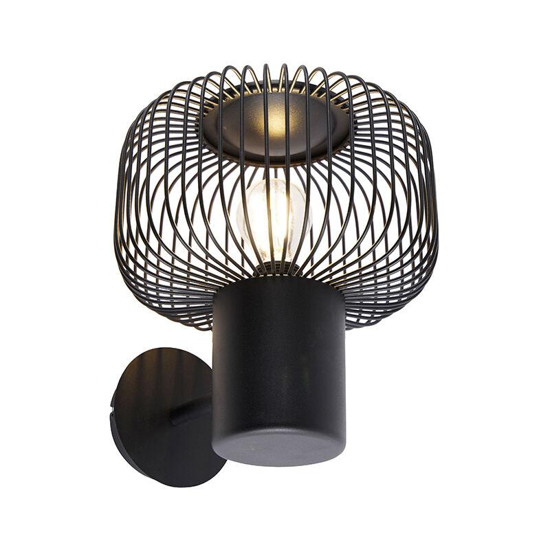 Applique baya - Design - Acciaio - Nero - Tondo Max. 1 x Watt - Qazqa