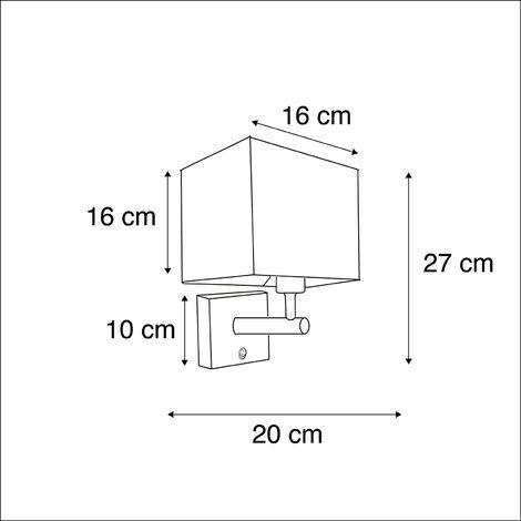 QAZQA Applique con paralume zeno - Moderno - Acciaio,Tessuto - Nero - Quadrato/Cubo Max. 1 x Watt - 98372
