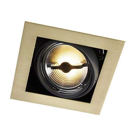 QAZQA Art Déco Foco empotrado cuadrado latón - ONEON 111-1 Acero Cuadrada Adecuado para LED Max. 1 x 50 Watt
