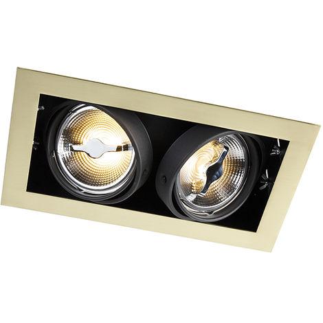 QAZQA Art Déco Foco empotrado latón orientable 2-luces - ONEON 111-2 Acero Rectangular Adecuado para LED Max. 2 x 50 Watt