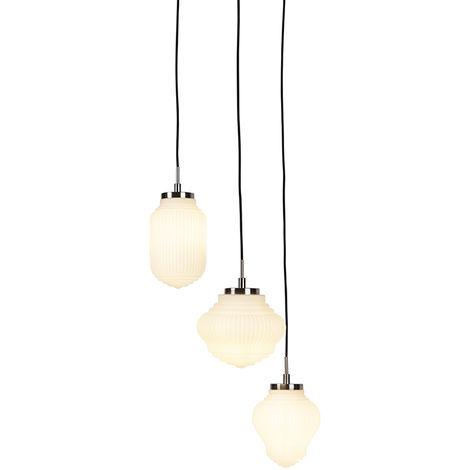 QAZQA Art Déco Lámpara colgante Art Dèco acero con cristal opalino 3 luces - BOLSENA Vidrio /Metálica Redonda Adecuado para LED Max. 3 x 40 Watt