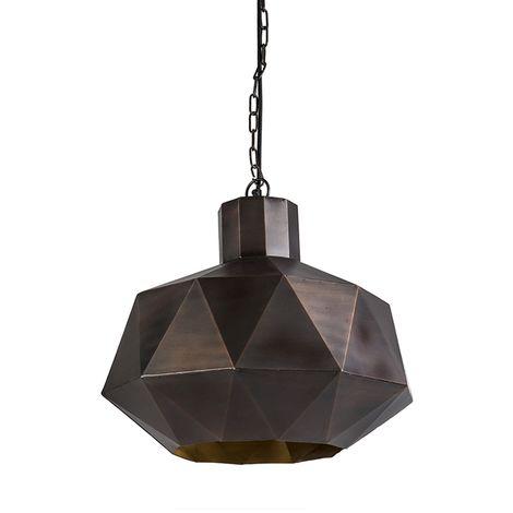 QAZQA Art Déco Lámpara colgante Art Deco cobre - Triango Acero Redonda Adecuado para LED Max. 1 x 40 Watt