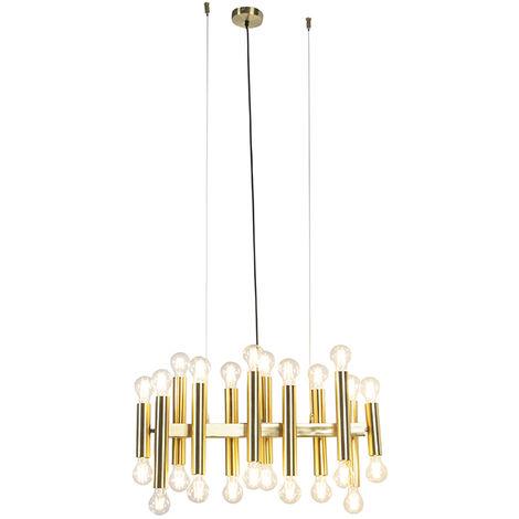 QAZQA Art Déco Lámpara colgante Art Deco oro 24-luces - FACIL Acero Alargada Adecuado para LED Max. 24 x 60 Watt