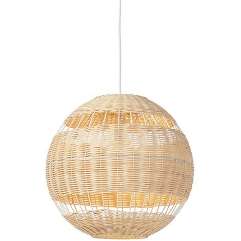QAZQA Art Déco Lámpara colgante rústica mimbre - RATTAN Ratán /Bamboo Redonda Adecuado para LED Max. 1 x 40 Watt