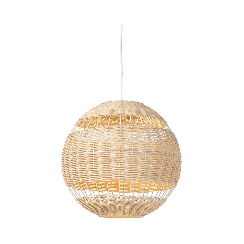 QAZQA Art Déco Lámpara colgante rústica mimbre RATTAN Ratán Bambú Redonda Adecuado para LED Max. 1 x 40 Watt