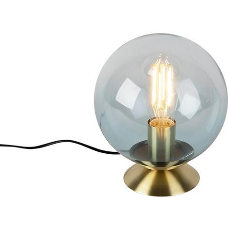 QAZQA Art Déco Lámpara de mesa Art Deco latón vidrio azul - PALLON /Acero Esfera Adecuado para LED Max. 1 x 25 Watt