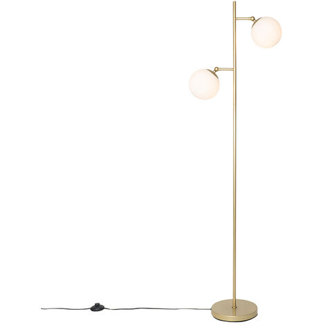 QAZQA Art Déco Lámpara de pie Art Déco dorado vidrio esmerilado 2-luces - PALLON /Acero Alargada Adecuado para LED Max. 2 x 25 Watt