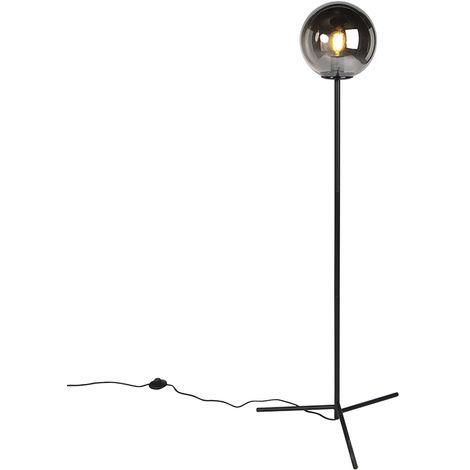 QAZQA Art Déco Lámpara de pie Art Déco negra vidrio ahumado - PALLON /Acero Alargada Adecuado para LED Max. 1 x 40 Watt