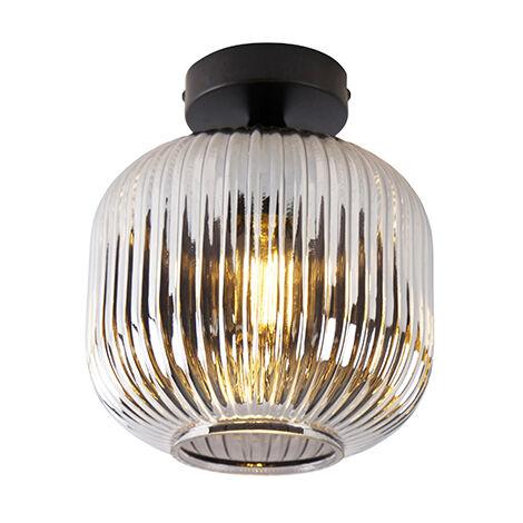 "main image of ""QAZQA Art Déco Plafón Art Deco negro cristal ahumado - KAREL Vidrio /Acero Redonda Adecuado para LED Max. 1 x 25 Watt"""