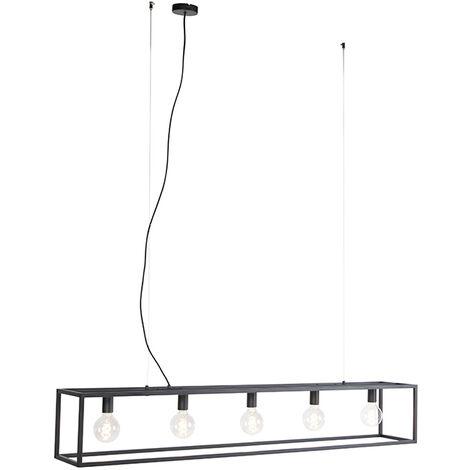 Qazqa Cage Lampes à suspension Rectangulaire Noir